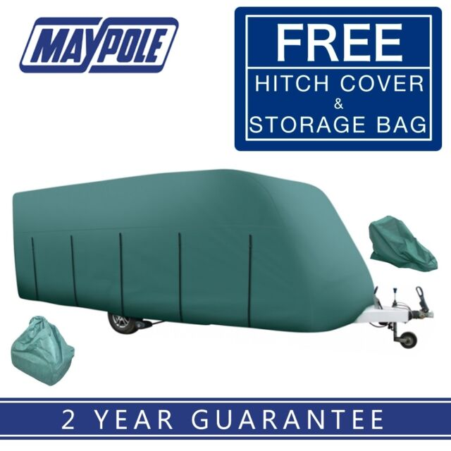 Maypole 4-Ply Caravan Cover Green - Fits up to 14' With Free Hitch Cover MP9531