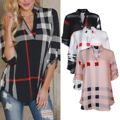 Isassy Womens Plaid Plus V Neck Shirt Autumn Top Blouse Long Sleeve T Shirt
