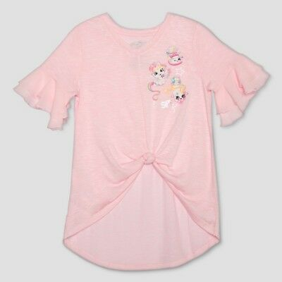 Shoppies Girls Pink Flutter Unicorn Short Sleeve T-Shirt 4-5 XS, 7-8 M, 14-16 XL 16 Flutter Sleeved Tee