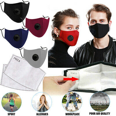 Reusable PM2.5 Activated Carbon Filter Breathing Face Nose Safe Mask Anti-Dust