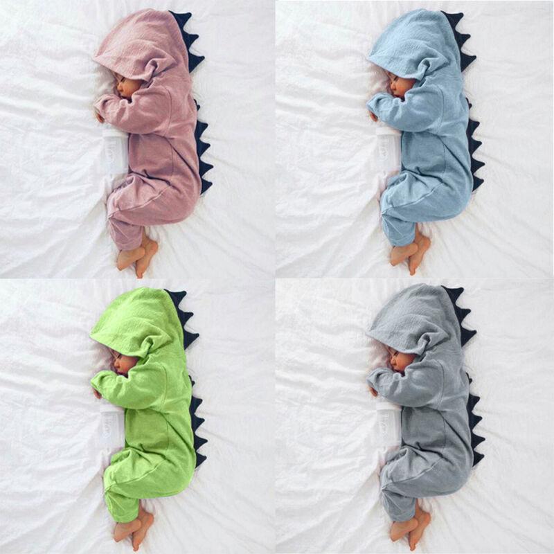 Newborn Infant Baby Boy Girl Dinosaur Hooded Romper Jumpsuit Clothes 3M-6M