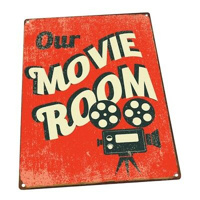 Our Movie Room Metal Sign; Wall Decor for Home Theater or Family - Movie Theater Wall Decor