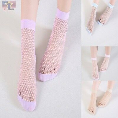Pastel Colored Candy (Girl Candy Pastel Colors Women Harajuku Mesh Sheer Sexy Cute Fishnet Ankle)