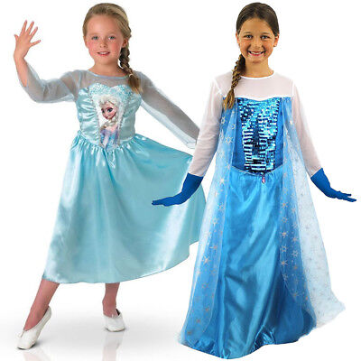KIDS GIRLS ELSA COSTUME DISNEY PRINCESS FROZEN FILM FANCY DRESS CHRISTMAS GIFT