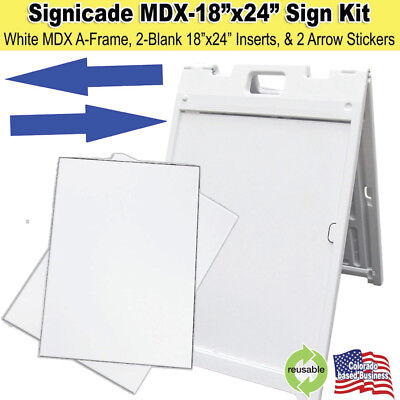 White Signicade Mdx Portable Sign Kit With 2 Blank Sign Inserts Arrow Stickers