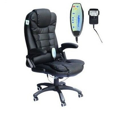 Executive Black Leather Reclining Massage Office Computer Swivel Chair With Heat