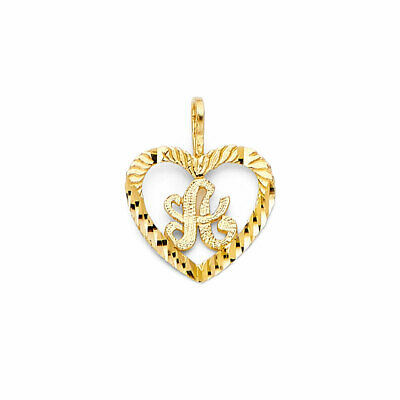 14K Real Yellow Gold Initial Letter Heart Love Small Light Charm Pendant A to Z 14k Gold Love Pendant