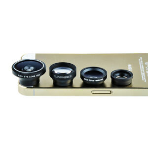 4in1 FishEye+ Wide Angle+Micro+ Telephoto Camera Lens for iPhone 5S 5C 4S 4 4G