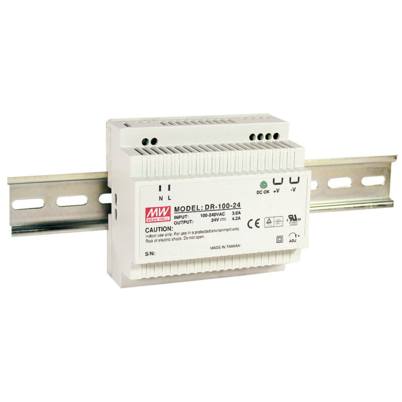 Mean Well DR-100-24 AC to DC DIN-Rail Power Supply 24 Volt 4.2 Amp 100.8 Watt