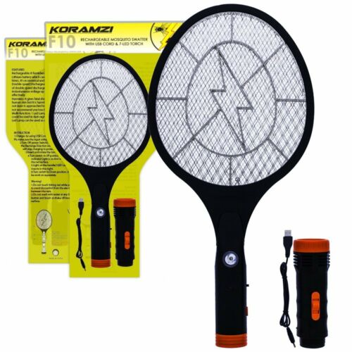 Electric Mosquito Swatter Bug Zapper Rechargeable Battery,Flashlight Koramzi F10