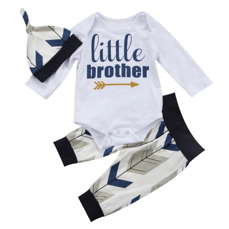 3Pcs Newborn Toddler Infant Baby Boys Clothes Romper Bodysuit Pants Leggings Set