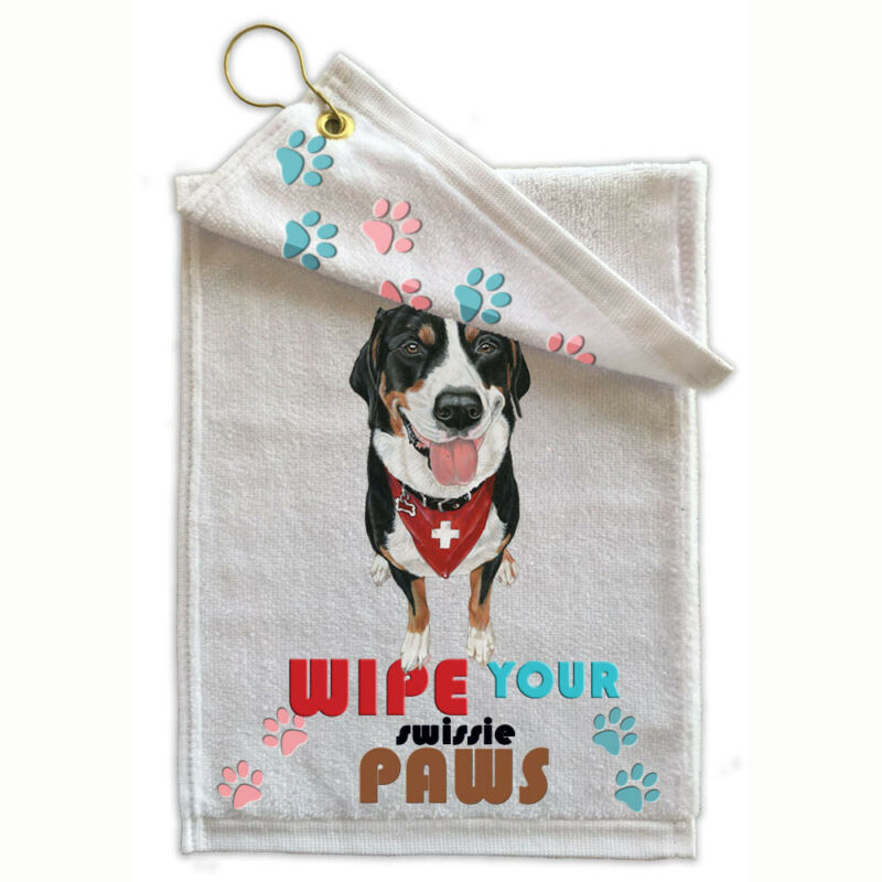 """Greater Swiss Mountain Dog Paw-Wipe Towel 11"""" x 18"""" Grommet with Hook"""