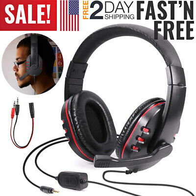 3.5mm Gaming Headset Mic Computer Headphones Stereo Surround For PC PS4 Xbox ONE