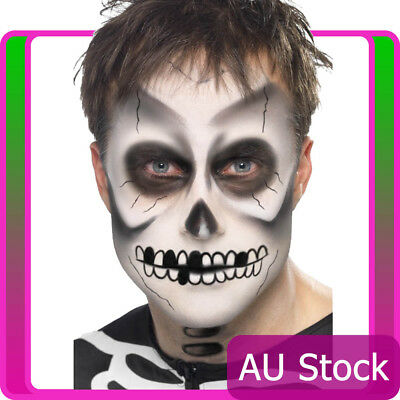 Mens Skeleton Day of the Dead Make Up Kit Scary Bones Halloween Costume Dress Up