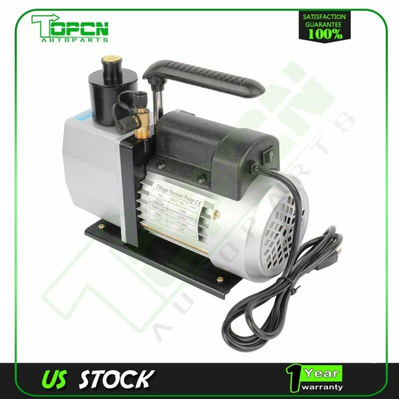 Dual Stage 5 CFM 1/2 HP Black Rotary Vane Deep Vacuum Pump HVAC AC Air tool Kit