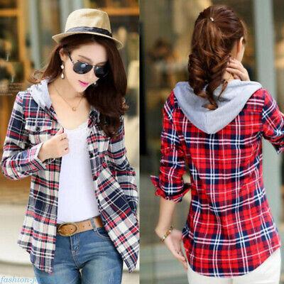 Women Newest Long Sleeve Tops Blouse Plaid Pattern Check Hooded T Shirt Coat - Long Sleeve Pattern Shirt