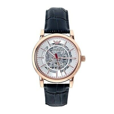 AR60009 Rose Gold and Navy Blue Leather Men's Skeleton Automatic Watch