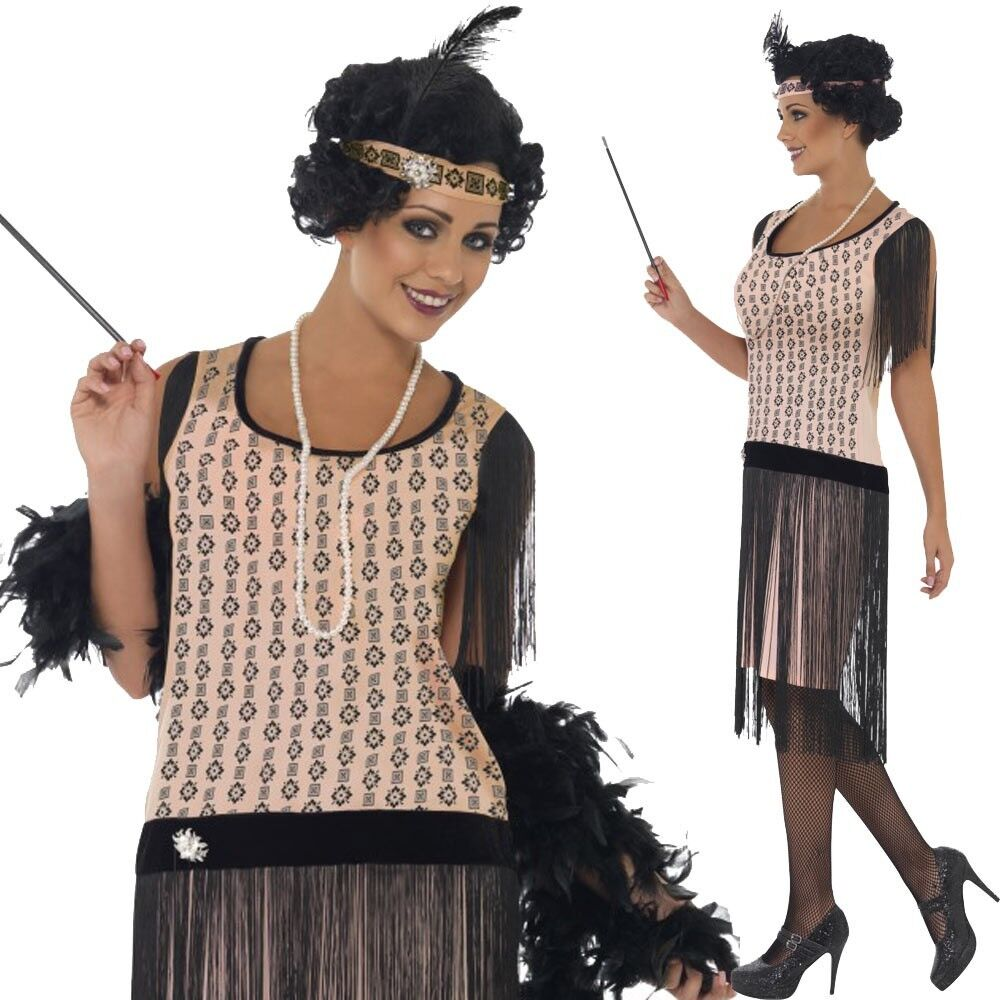 Ladies 1920/'s Coco Flapper Costume Adult Charleston Gatsby Fancy Dress UK 8-18