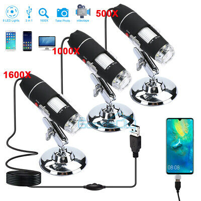 8led 1000x1600x Electronic Digital Microscope Handheld Usb Magnifier Endoscope