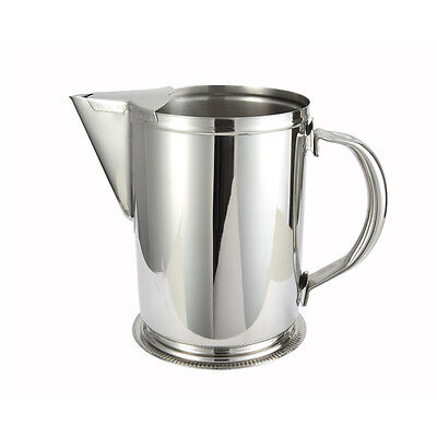 Winco Wpg-64 64-ounce Water Pitcher With Ice Guard Stainless Steel