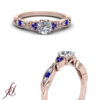 Round Diamond & Sapphire Rose Gold Milgrain Engagement Ring For Women 0.65 Ctw