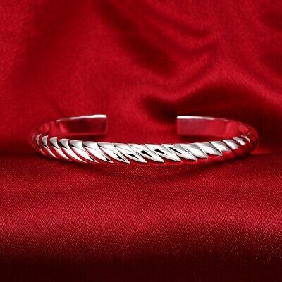 Mens Womens Sterling Silver Edge Pattern Cuff Open Bangle Bracelet #B399