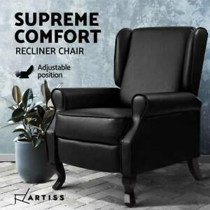 Recliner Chair Luxury Lounge Armchair Single Sofa Couch Leather Black