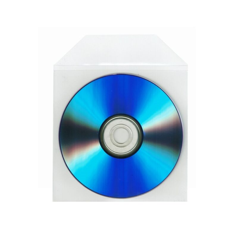 500 Thick CD DVD CPP Clear Plastic Sleeve Bag Envelope with Flap, 100 micron