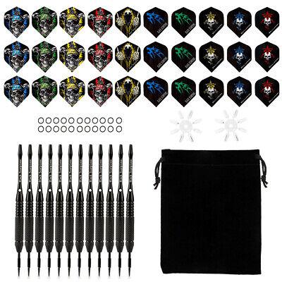 12 Dartpfeile Steel darts mit 15 Dartspitzen Ghost verchromt 24g schwarz