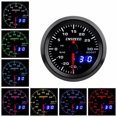 "2"" 52mm Car Turbo Boost Gauge Pointer Digital LED PSI 12V Pressure Meter 7 Color"