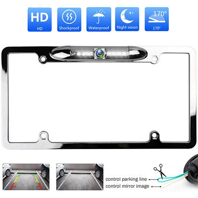 Chrome US Car License Plate Frame Front/Backup Camera Reverse Rear View Parking