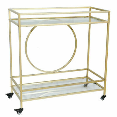 Luxury Rolling Bar Cart Serving Trolley Kitchen Cart Wine Storage Table Home Pub