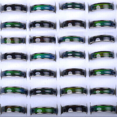 10/30/50pc Wholesale Mixed Lot Change Color Silver Plated Mood Ring Bulk Jewelry