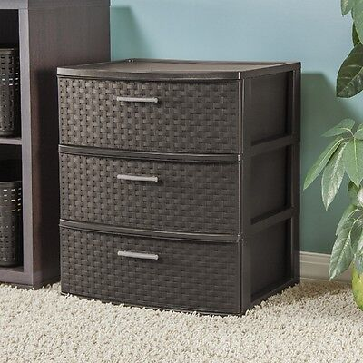 Decorative Storage Chest 3 Drawers Brown Organizer Bath Bed Room Unit Espresso