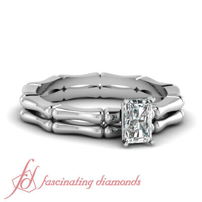 Solitaire Bridal Rings Set 1/2 Ct Radiant Cut Diamond VS1-E Color GIA Certified