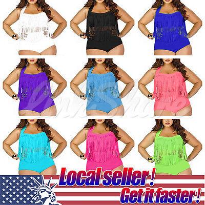 - US SELLER Plus Size Womens Fringe Tassel High Waisted Push Up Swimwear Bikini
