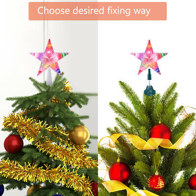Clear Color Changing Star Lighted Christmas Holiday Tree Topper 10 Lights LED