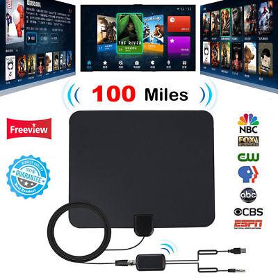 Flat Antenna Digital Hd Tv Fox Amplified Mile Ultra Thin 100 Miles Range Indoor