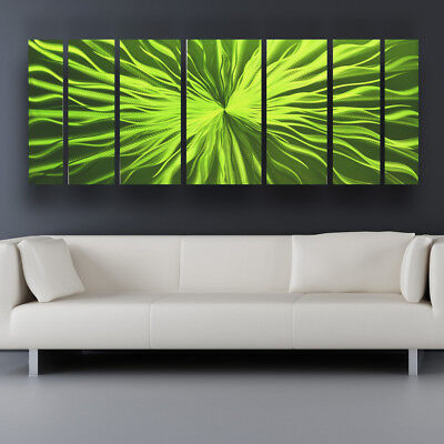 Metal Wall Art Modern Contemporary Abstract Sculpture Painting Home Decor Green ()