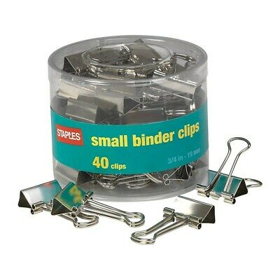 Staples Small Satin Silver Metal Binder Clips 34 Size With 38 Capacity