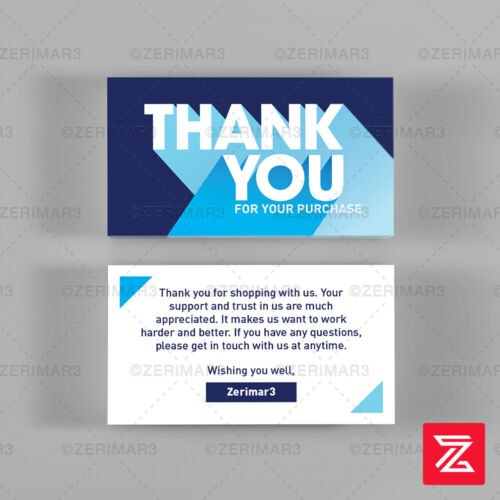 500 Thank You For Your Purchase Business Cards Pro Design 16pt UV Gloss or Matte