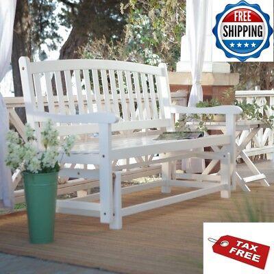 Loveseat Glider Outdoor Patio White Rocker Bench Porch Wooden Curved Back (Back Porch Glider Bench)