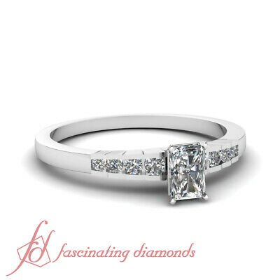 Channel Set 0.60 Ct Radiant Cut Diamond Rescinding Grid Engagement Ring SI1 GIA