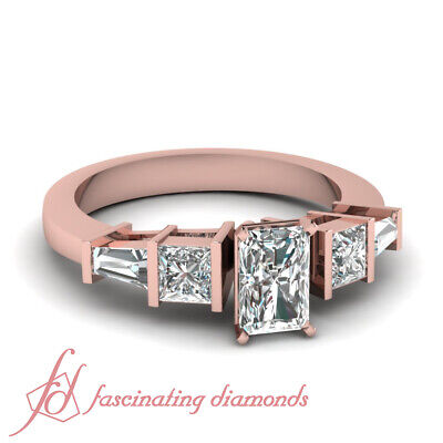 1.20 Ct Radiant Cut And Baguette Diamond Bar Set Engagement Ring GIA Certified