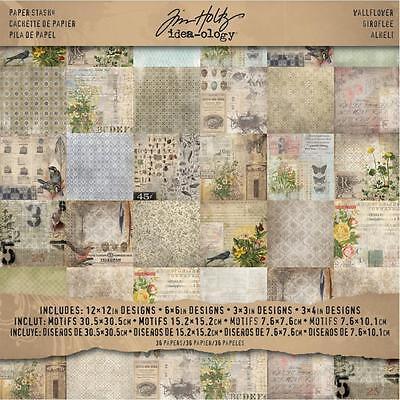 "Tim Holtz Idea-Ology Paper Stash Paper Pad Wallflower 12""X12"" 30,5x30,5 cm 36 T."