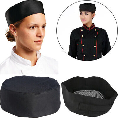 Professional Mesh Top Skull Cap Catering Chefs Cook Hat With Adjustable Strap
