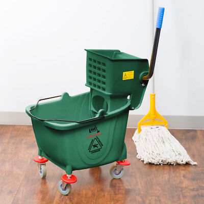 Green 36 Quart Plastic Mop Bucket With Wheels And Side-press Wringer Combo