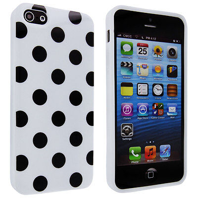 White TPU Gummy Case with Black Polka Dot for iPhone 5 5S iPhone SE - White Gummy