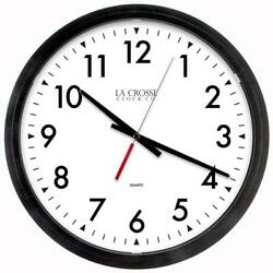 14 in. W x 14 in. H Black Round Commercial Analog Wall Clock by La Crosse Tech.