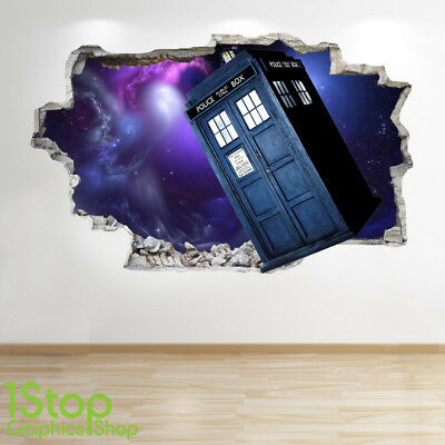 Dr Who Wandaufkleber 3D Optik - Schlafzimmer Kinder Tardis Wand Abziehbilder ()